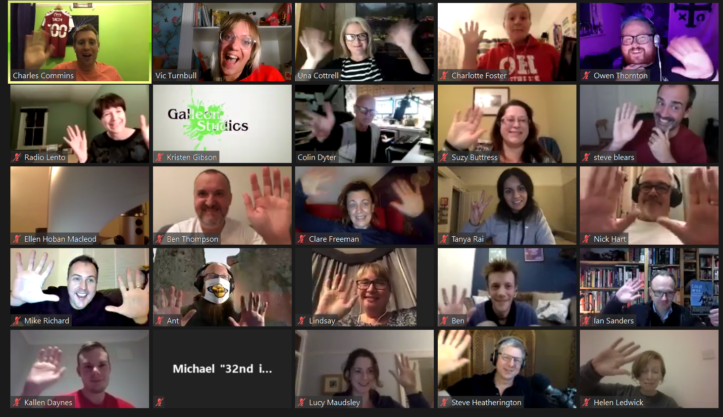 a screen grab from a zoom call. a 5x5 grid - in each grid is a different face smiling and waving
